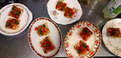 The bruschetta was served on toast with rocket pesto and micro herbs
