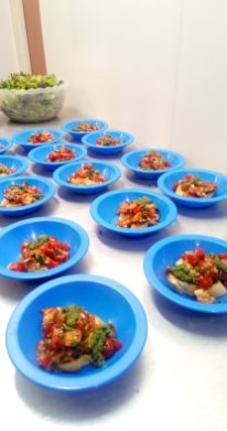 My first and only negative comment is on the blue plastic bowls I had to serve in! Bruschetta with rocket pesto has never before looked like it was on its way out for primary school lunch!