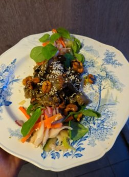 Next up: sweet sticky sesame aubergine, as usual served on The Waiting Room's gorgeous vintage china
