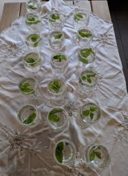 Before guests sat down, they were treated to a welcome soft drink of lemonade spiked with ginger syrup and mint