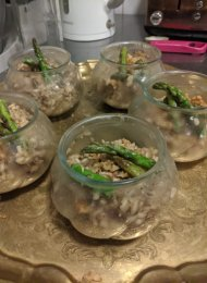 Next up was the main event: mushroom & walnut risotto topped off with walnut crumb and griddled asparagus.
