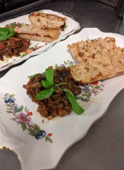 With everyone settled, the first course was up - Sicilian caponata.